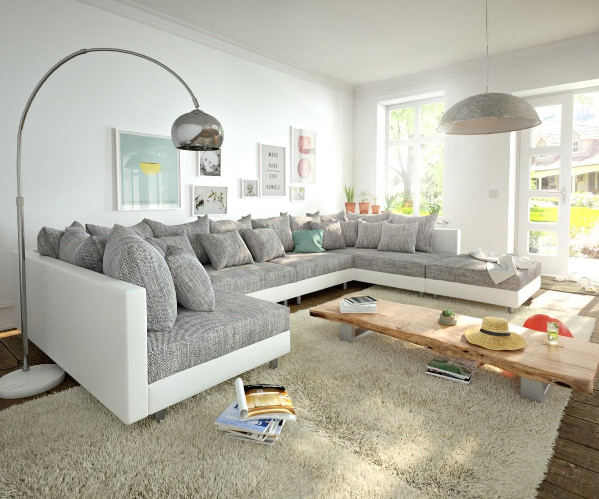 wohnlandschaft clovis xl weiss hellgrau modulsofa hocker m bel sofas wohnlandschaften. Black Bedroom Furniture Sets. Home Design Ideas