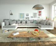 Couch Clovis XL Weiss Hellgrau mit Hocker Wohnlandschaft modular [10834]