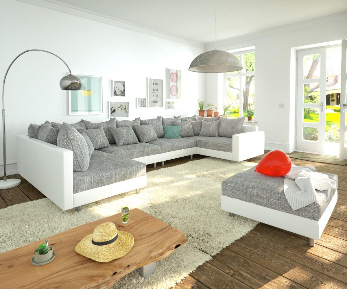 Woonlandschap Clovis XL wit licht grijs hocker armsteun modulair