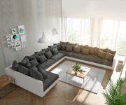 Couch Clovis XXL Weiss Schwarz Ottomane Rechts Wohnlandschaft [10837]