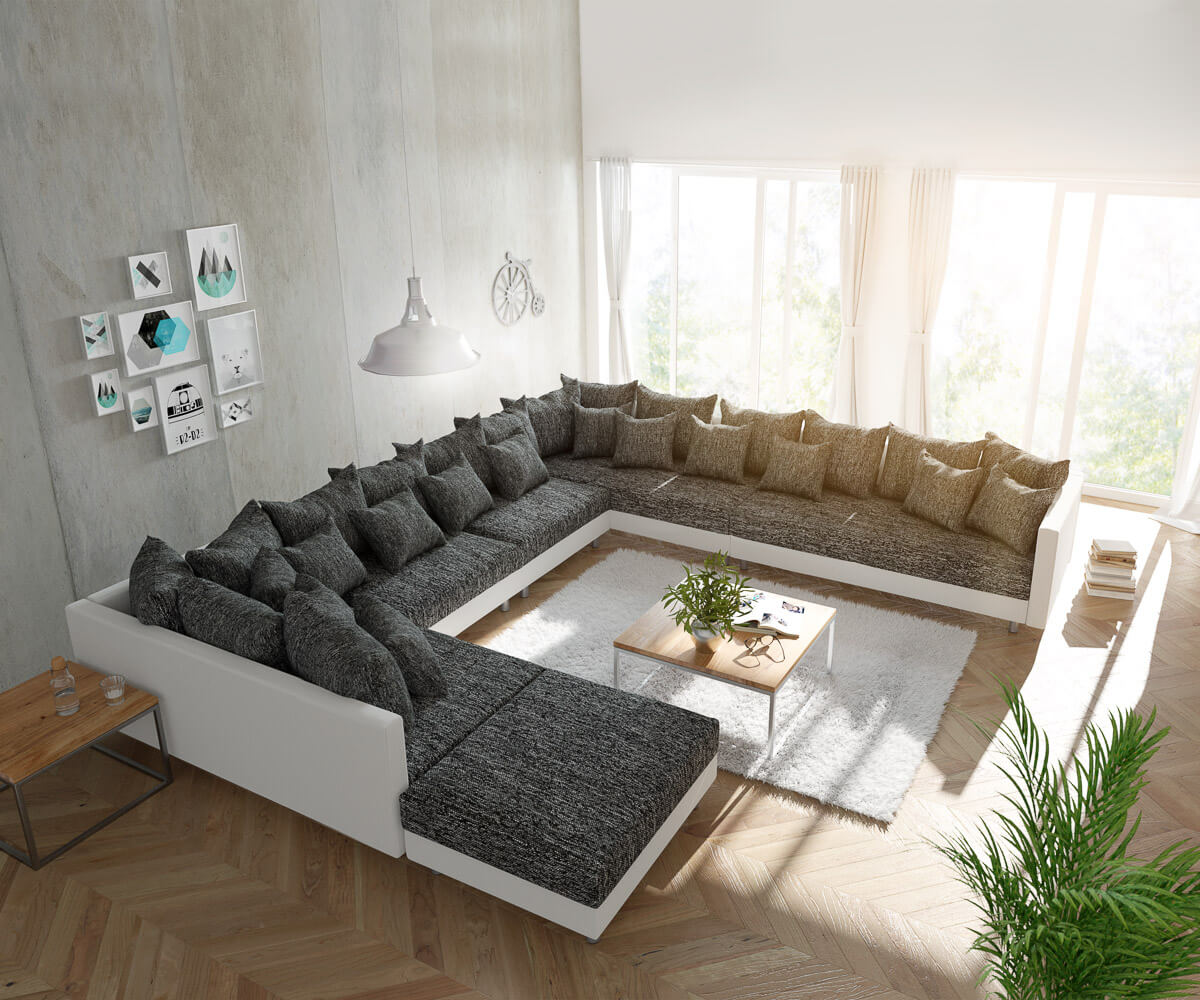 wohnlandschaft clovis xxl weiss schwarz mit hocker ottomane rechts m bel sofas wohnlandschaften. Black Bedroom Furniture Sets. Home Design Ideas