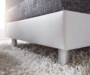 Couch Clovis XXL Weiss Schwarz mit Hocker Ottomane Rechts Wohnlandschaft [10838]