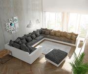 Couch Clovis XXL Weiss Schwarz mit Hocker und Armlehne Ottomane Rechts Wohnlandschaft [10840]