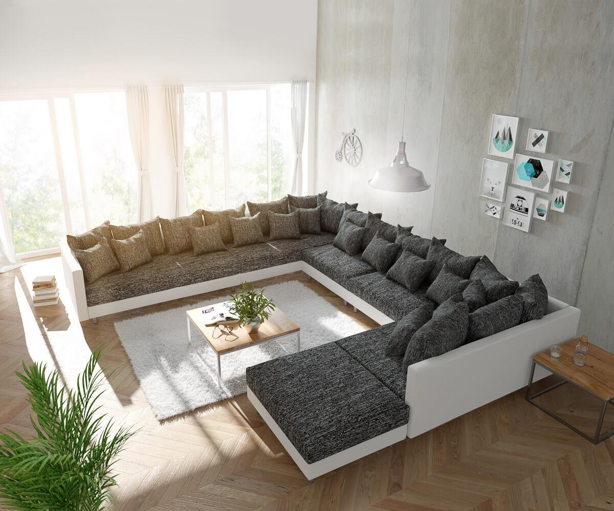 DELIFE Wohnlandschaft Clovis XXL Weiss Schwarz mit Hocker Ottomane Links, Design Wohnlandschaften, Couch Loft, Modulsofa, modular