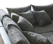 Couch Clovis XXL Schwarz mit Hocker Ottomane Rechts Wohnlandschaft Modulsofa [10846]