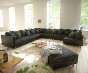 Couch Clovis XXL Schwarz mit Hocker Ottomane Links Wohnlandschaft Modulsofa [10850]