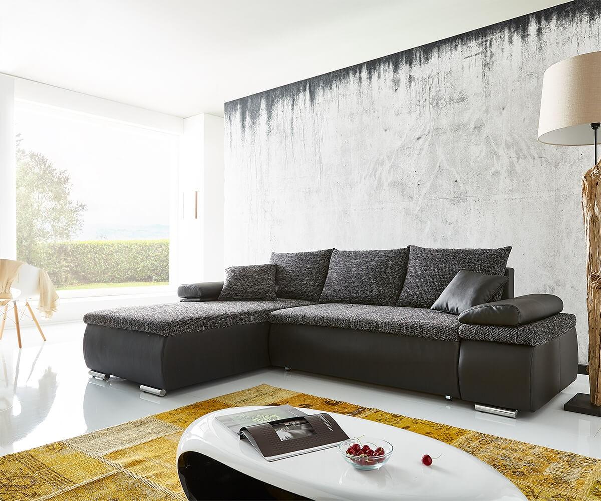 Ecksofa cariba 275x180 schwarz grau ottomane variabel ...