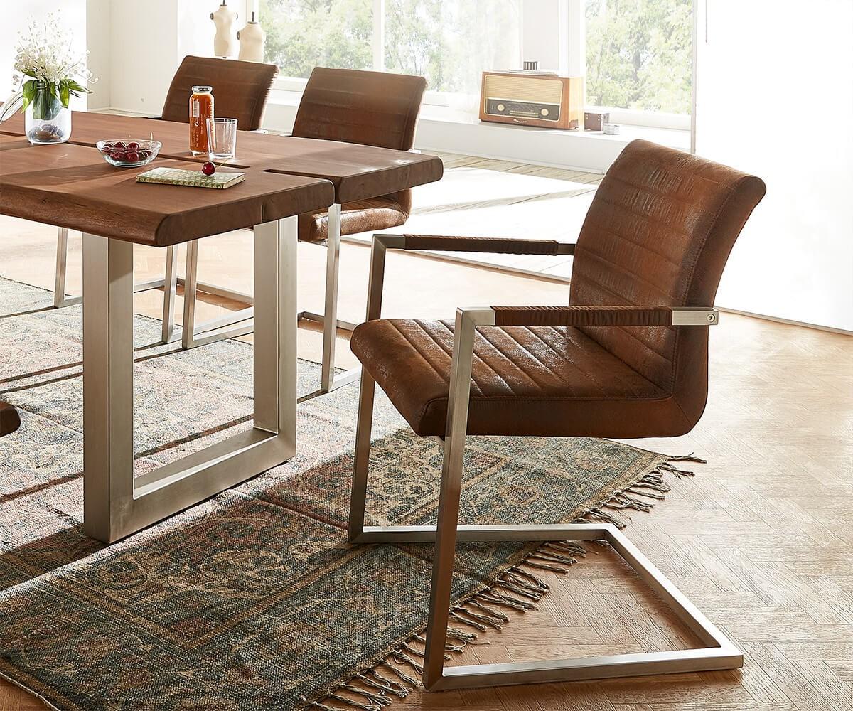 freischwinger earnest braun vintage gestell edelstahl m bel st hle esszimmerst hle. Black Bedroom Furniture Sets. Home Design Ideas
