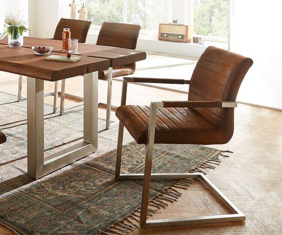 Sledestoel Earnest bruin vintage frame roestvrij staal 1