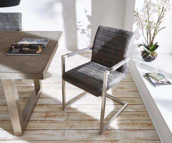 Sledestoel Earnest grijs vintage frame roestvrij staal 2