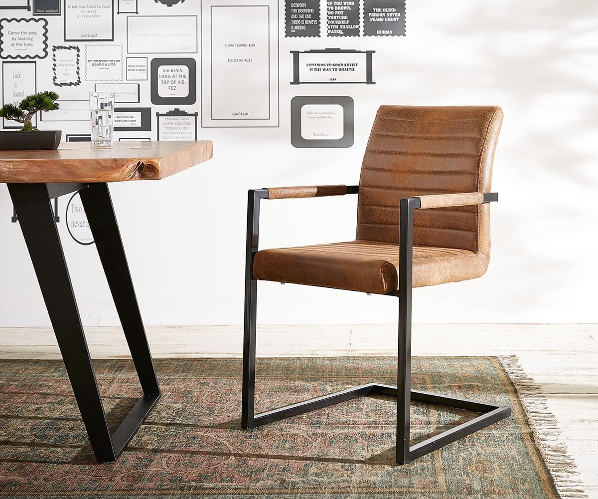 Stoel Metalen Frame : Sledestoel earnest bruin vintage frame metaal zwart meubels