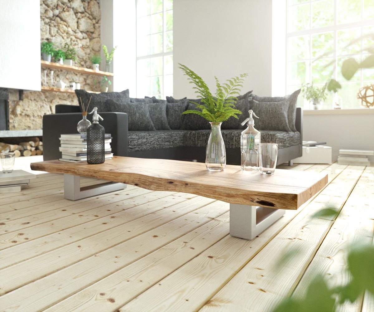 Koffietafel Live-Edge 165x60 natuur skid frame acacia