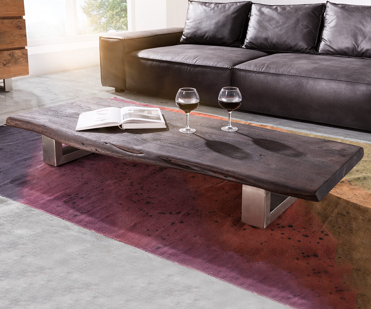 couchtisch live edge 165x60 cm akazie tabak kufenfu m bel tische couchtische. Black Bedroom Furniture Sets. Home Design Ideas