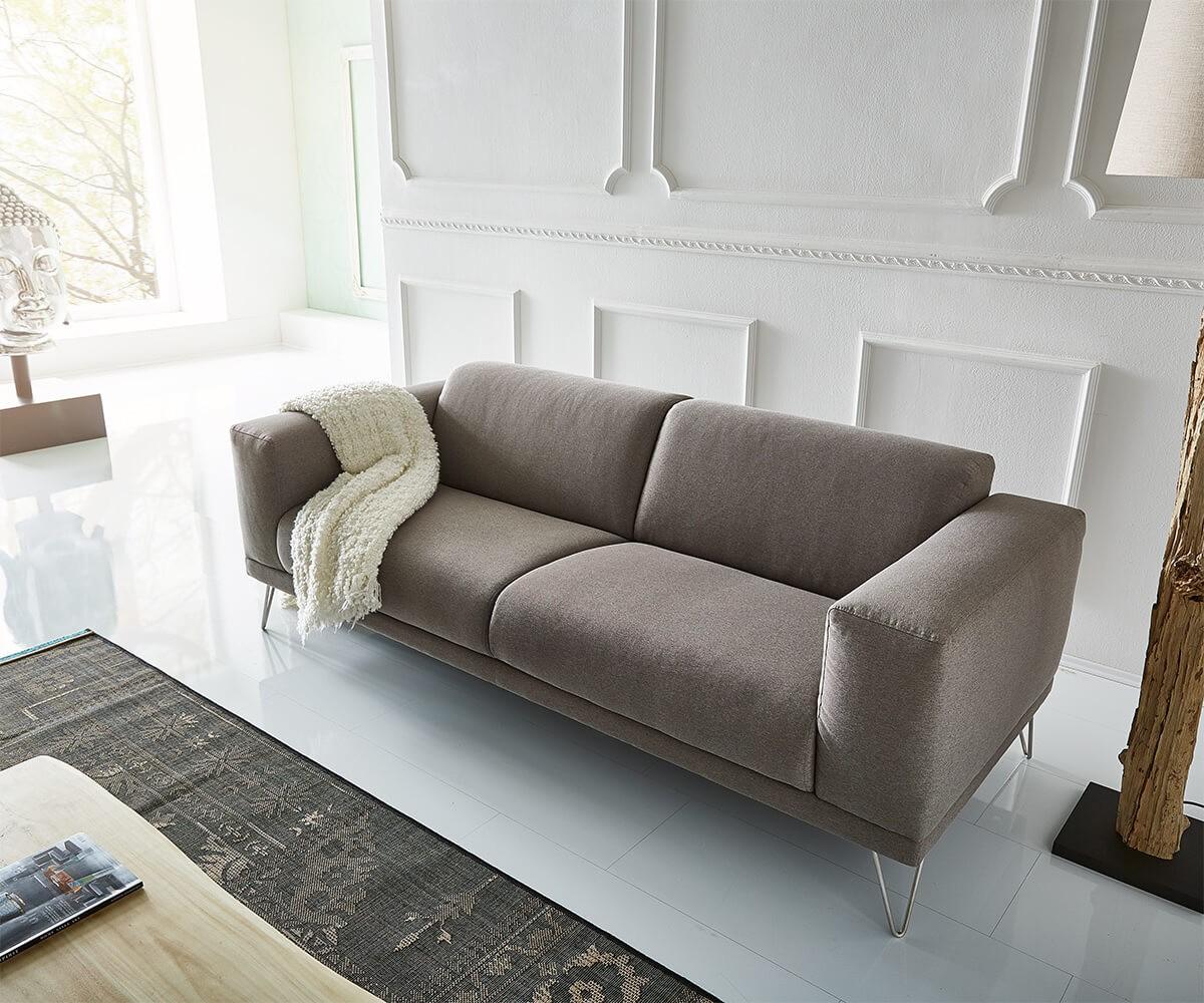 Sofa Lordina Grau 220x90 cm Bauhausstil Füße Metall 3-Sitzer