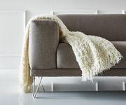 Sofa Lordina Grau 220x90 cm Bauhausstil Füße Metall 3-Sitzer [10927]