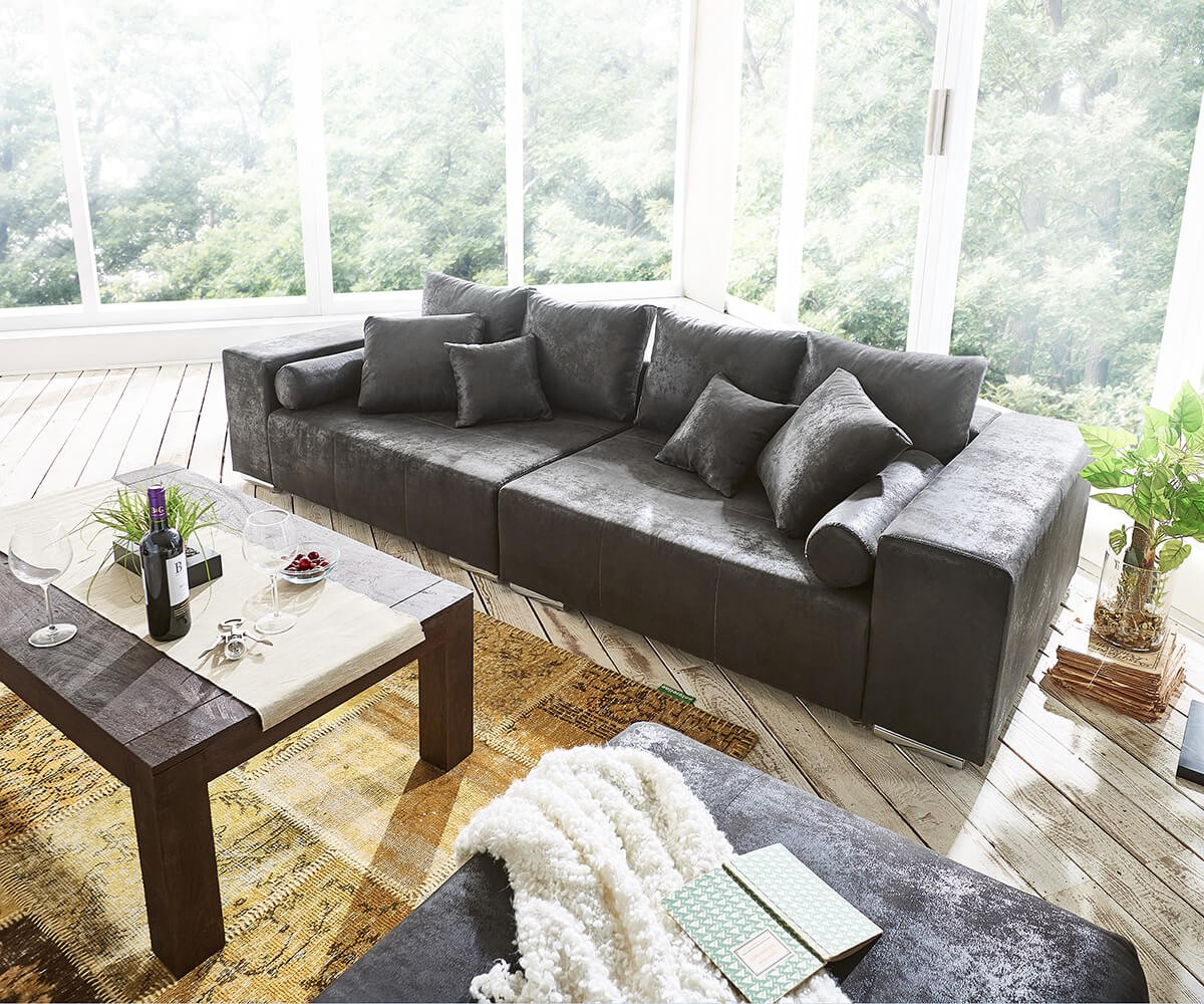Bezaubernd Big Sofa Mit Hocker Dekoration Von Bigsofa Marbeya Anthrazit X Cm Antik Optik