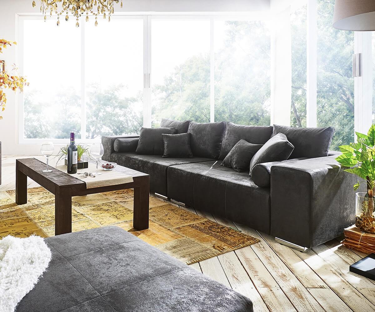 bigsofa marbeya anthrazit 285x115 cm antik optik inklusive hocker big sofa. Black Bedroom Furniture Sets. Home Design Ideas