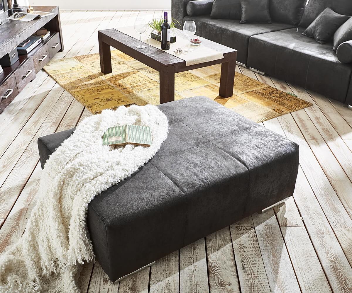 Big Sofa Marbeya 285x115 Cm Anthrazit Antik Optik Hocker Mobel Sofas