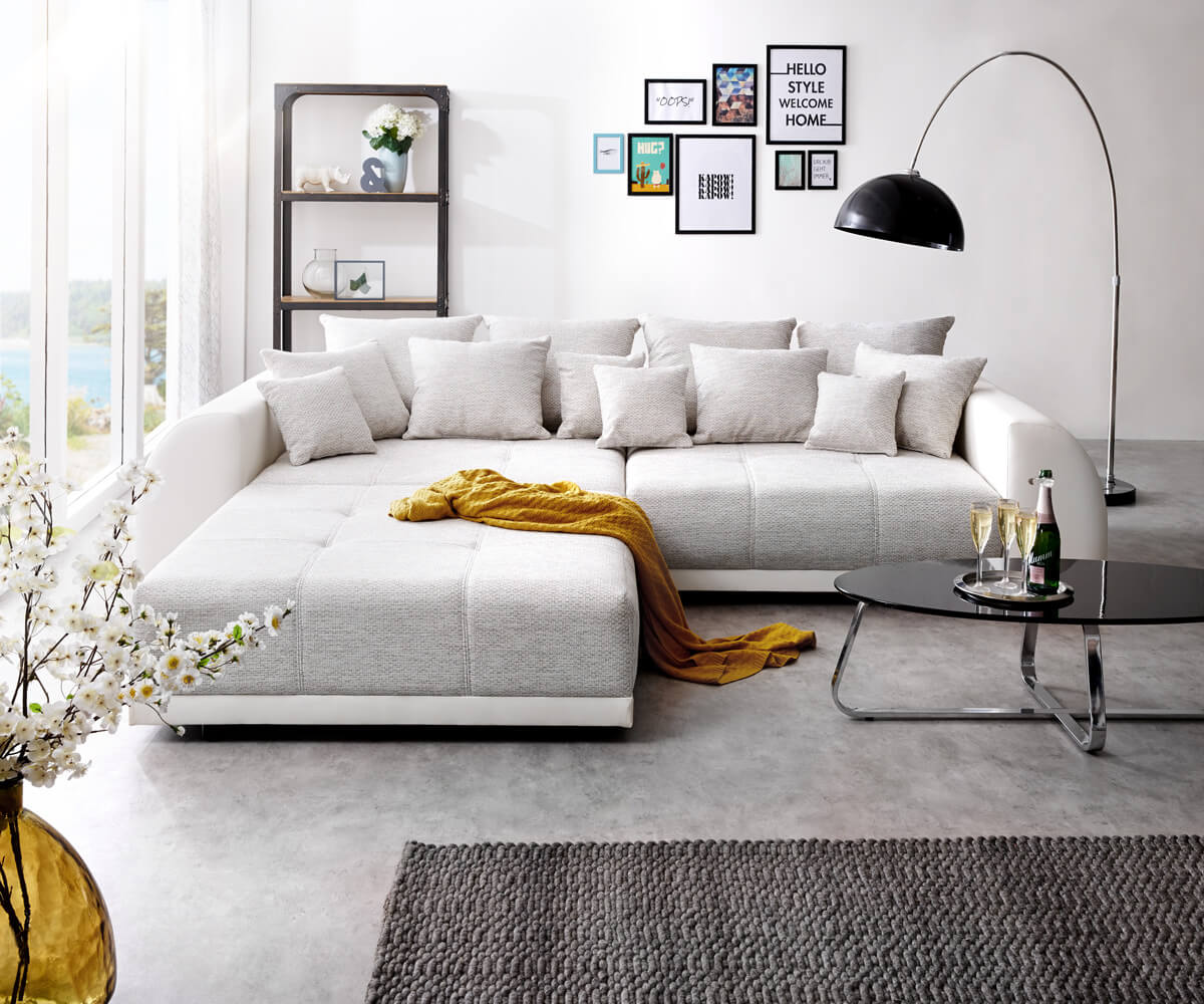 big sofa violetta 310x135 cm hellgrau creme mit hocker. Black Bedroom Furniture Sets. Home Design Ideas