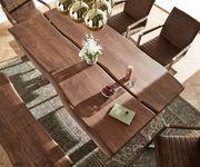 Massivholztisch Live-Edge Akazie Braun 180x100 Platte 5,5 cm Gestell breit Baumtisch [10943]