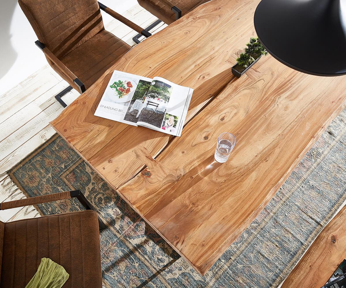 baumtisch live edge 180x100 akazie natur platte 5 5 cm gestell schr g m bel tische esstische. Black Bedroom Furniture Sets. Home Design Ideas