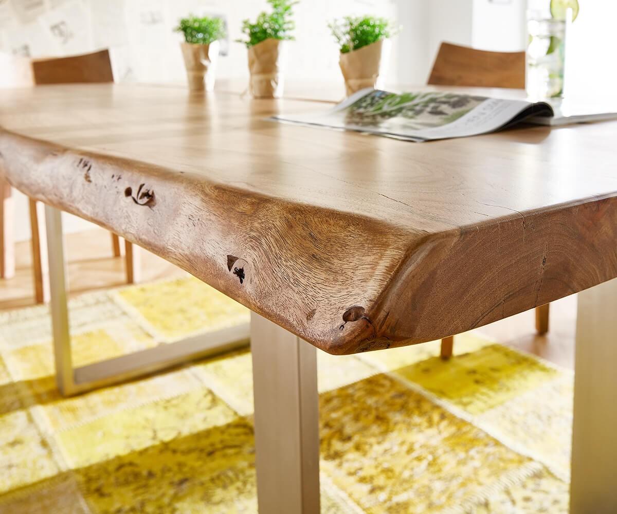 baumtisch live edge 180x100 akazie natur platte 5 5 gestell schmal m bel tische esstische. Black Bedroom Furniture Sets. Home Design Ideas