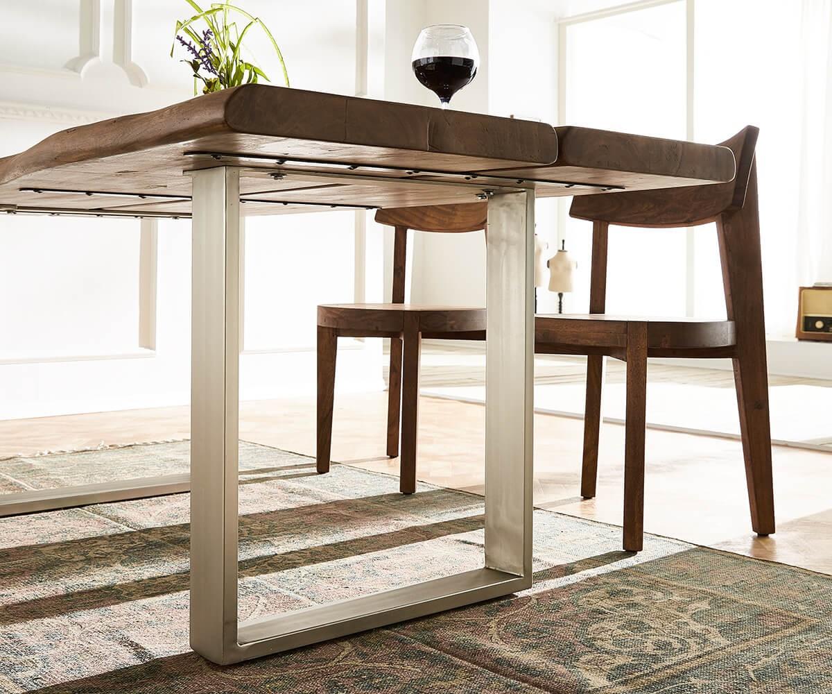 baumtisch live edge 180x100 akazie braun platte 5 5 cm gestell schmal m bel tische esstische. Black Bedroom Furniture Sets. Home Design Ideas