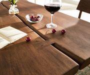 Massivholztisch Live-Edge Akazie Braun 180x100 Platte 5,5 cm Gestell schmal Baumtisch [10947]