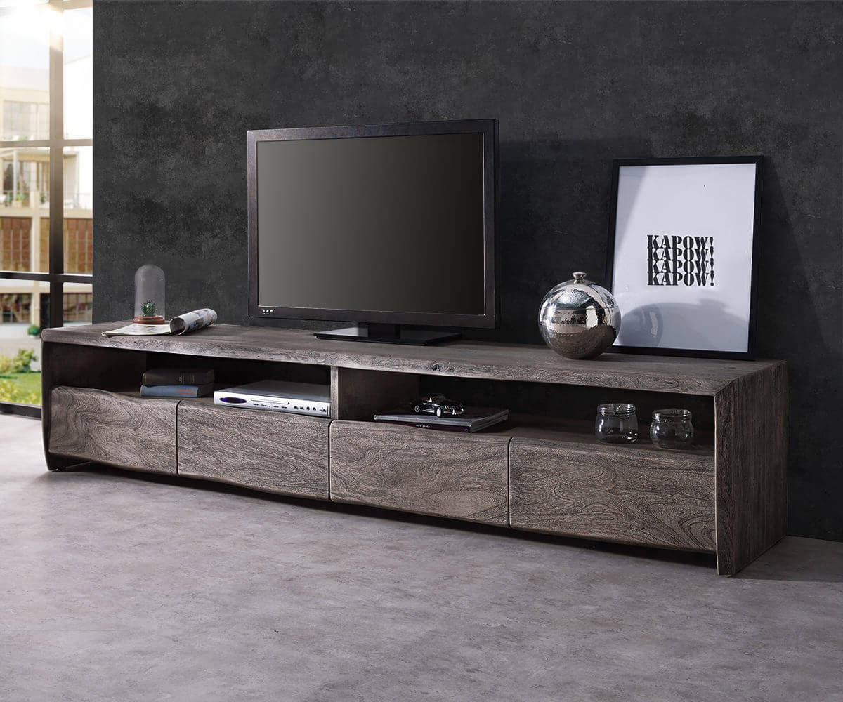 TV-meubel Live-Edge 190 cm acacia platinum 4 laden 2 vakken