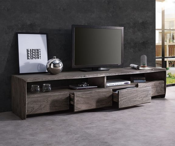 TV-meubel Live-Edge 230 cm massief platina acacia 4 laden 2