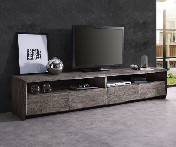 TV-meubel Live-Edge 230 cm massief platina acacia 4 laden 1