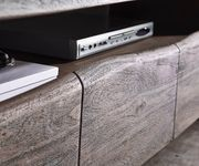 Fernsehtisch Live-Edge Akazie Platin 230 cm 4 Schubkästen Baumkante Lowboard [10958]