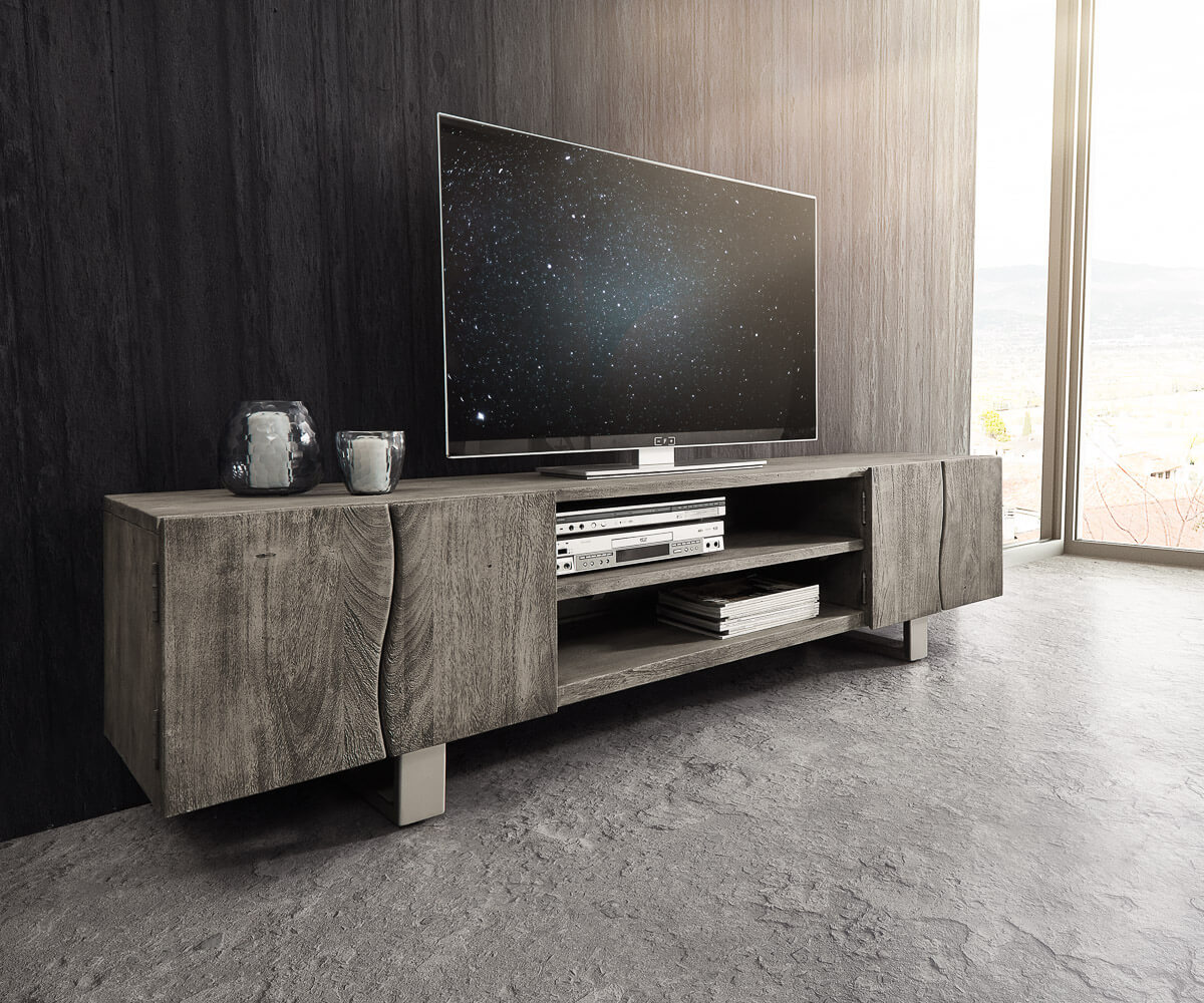 lowboard live edge 200 cm akazie platin 4 t ren 2 f cher m bel tische fernsehtische. Black Bedroom Furniture Sets. Home Design Ideas