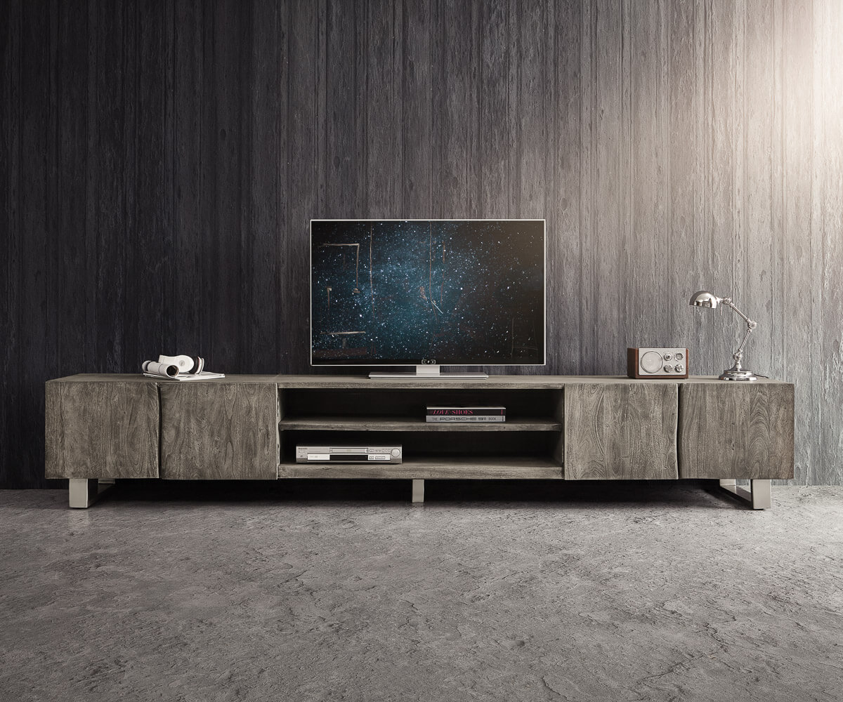 lowboard live edge 300 cm akazie platin 4 t ren 2 f cher m bel tische fernsehtische. Black Bedroom Furniture Sets. Home Design Ideas