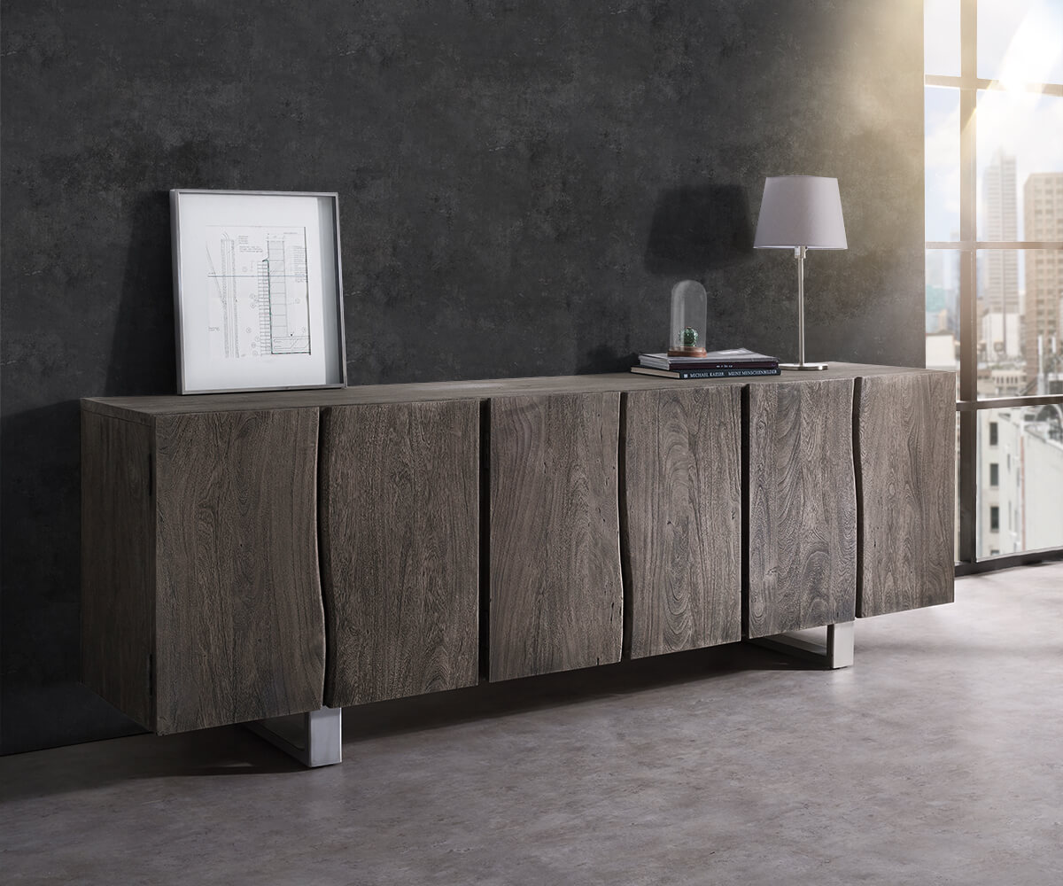 sideboard live edge 220 cm akazie platin massiv 6 t ren. Black Bedroom Furniture Sets. Home Design Ideas