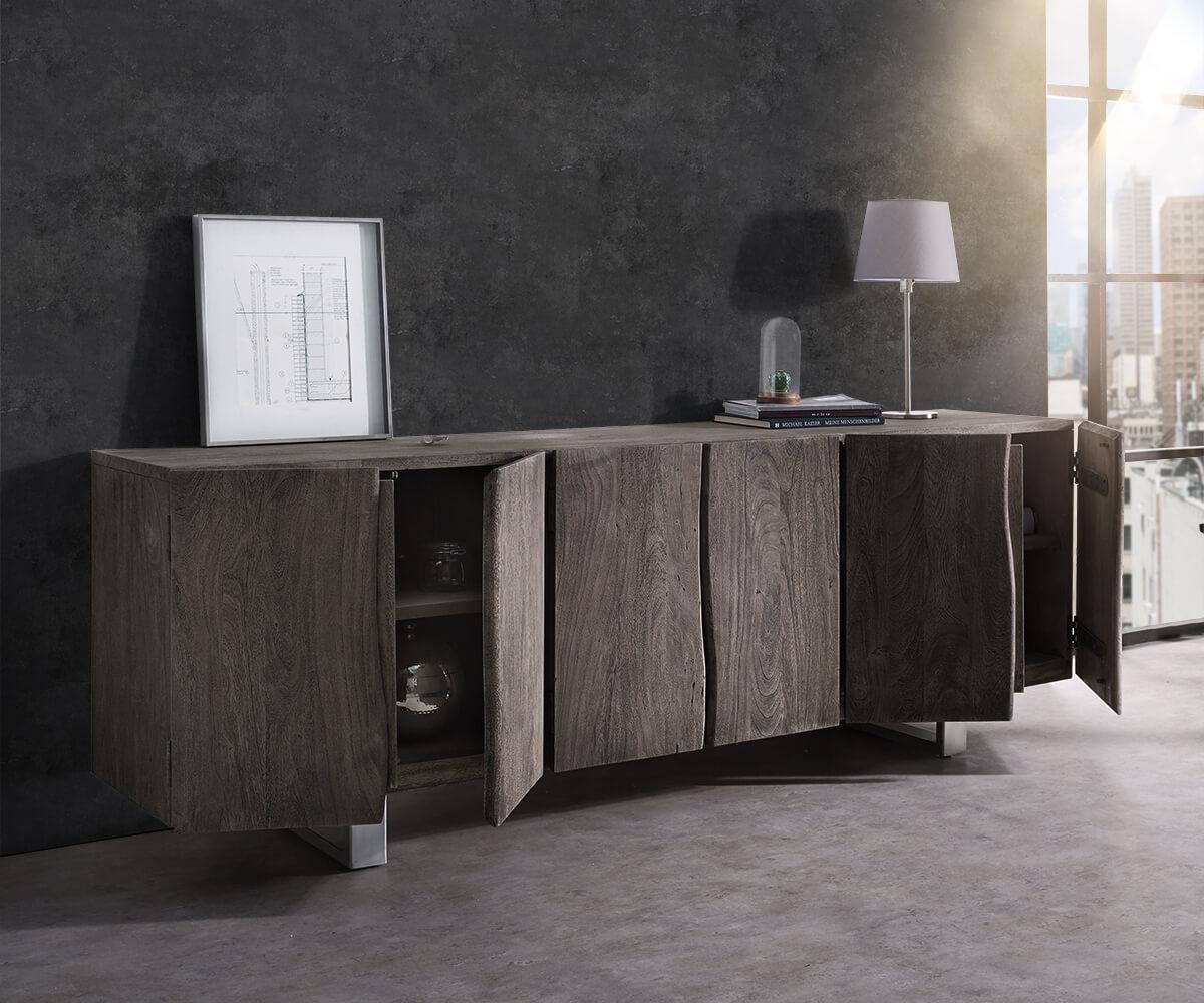 sideboard live edge 220 cm akazie platin massiv 6 t ren m bel kommoden schr nke sideboards. Black Bedroom Furniture Sets. Home Design Ideas