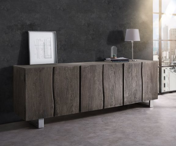 Dressoir Live-Edge 220 cm massief acacia platina 6 deuren 1