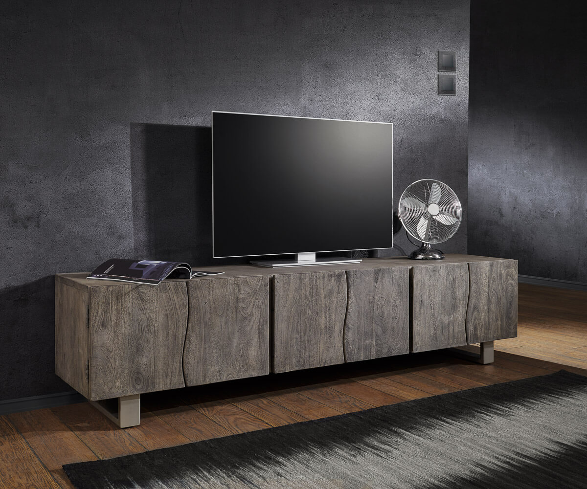 lowboard live edge 220 cm akazie platin massiv 6 t ren m bel tische fernsehtische. Black Bedroom Furniture Sets. Home Design Ideas