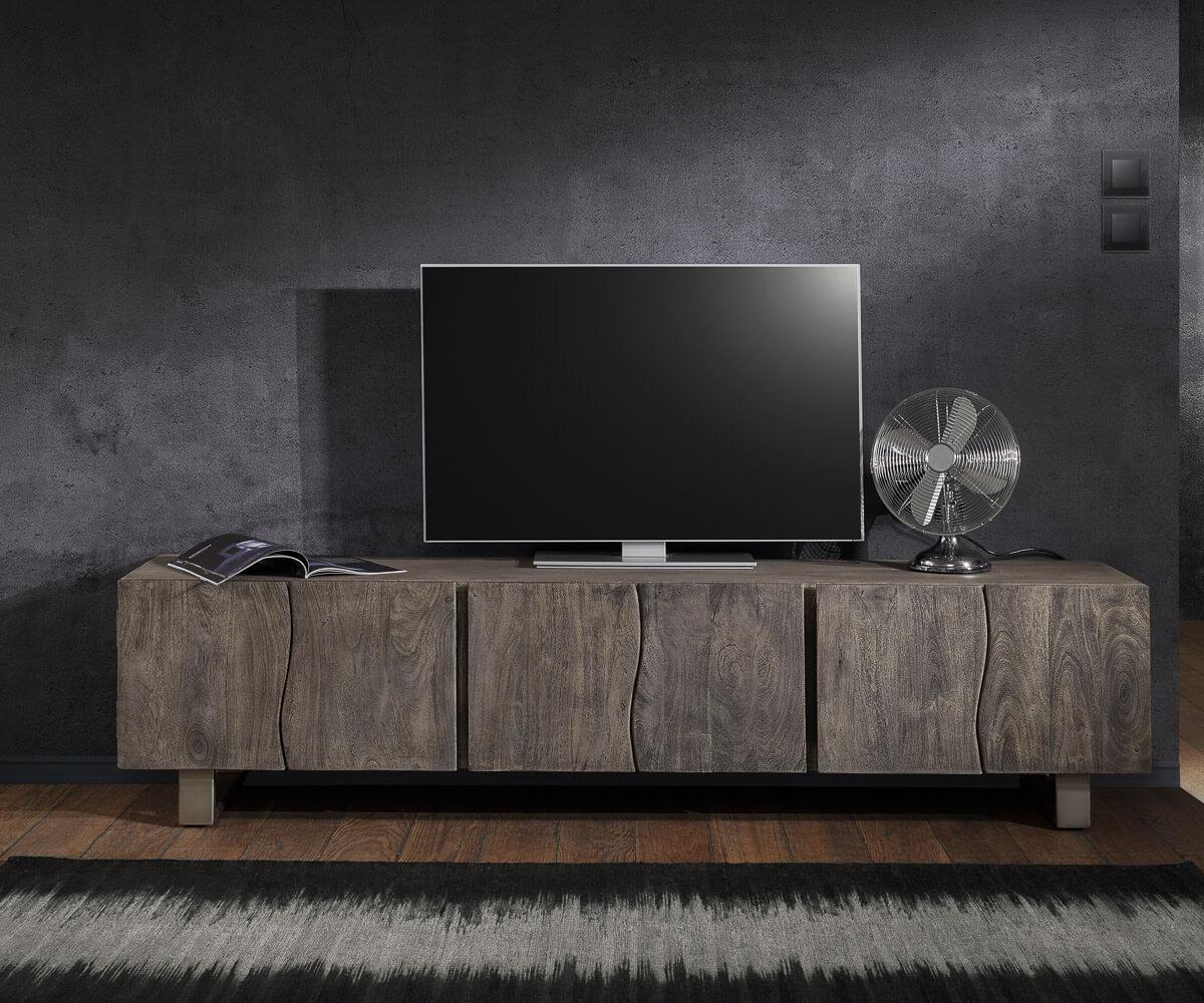 TV-meubel Live-Edge 220 cm massief platina acacia 6 deuren