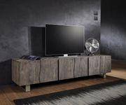 Fernsehtisch Live-Edge Akazie Platin 220 cm 6 Türen Massivholz Baumkante Lowboard [11336]