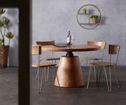 Küchenstuhl Veruca Akazie Natur Massivholz Metallgestell Silber Esszimmerstuhl  [10992]
