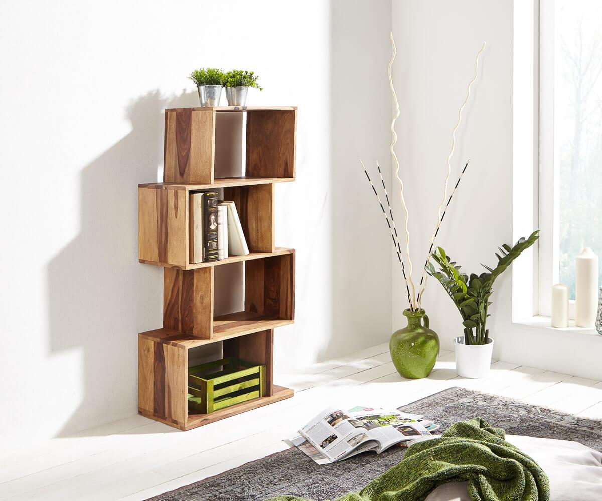 standregal serpent 55 cm sheesham natur 4 f cher massiv. Black Bedroom Furniture Sets. Home Design Ideas