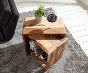 Würfelregal Eolo Sheesham Natur 50x30 cm Massivholz 2er Set Cube Beistelltisch [11019]