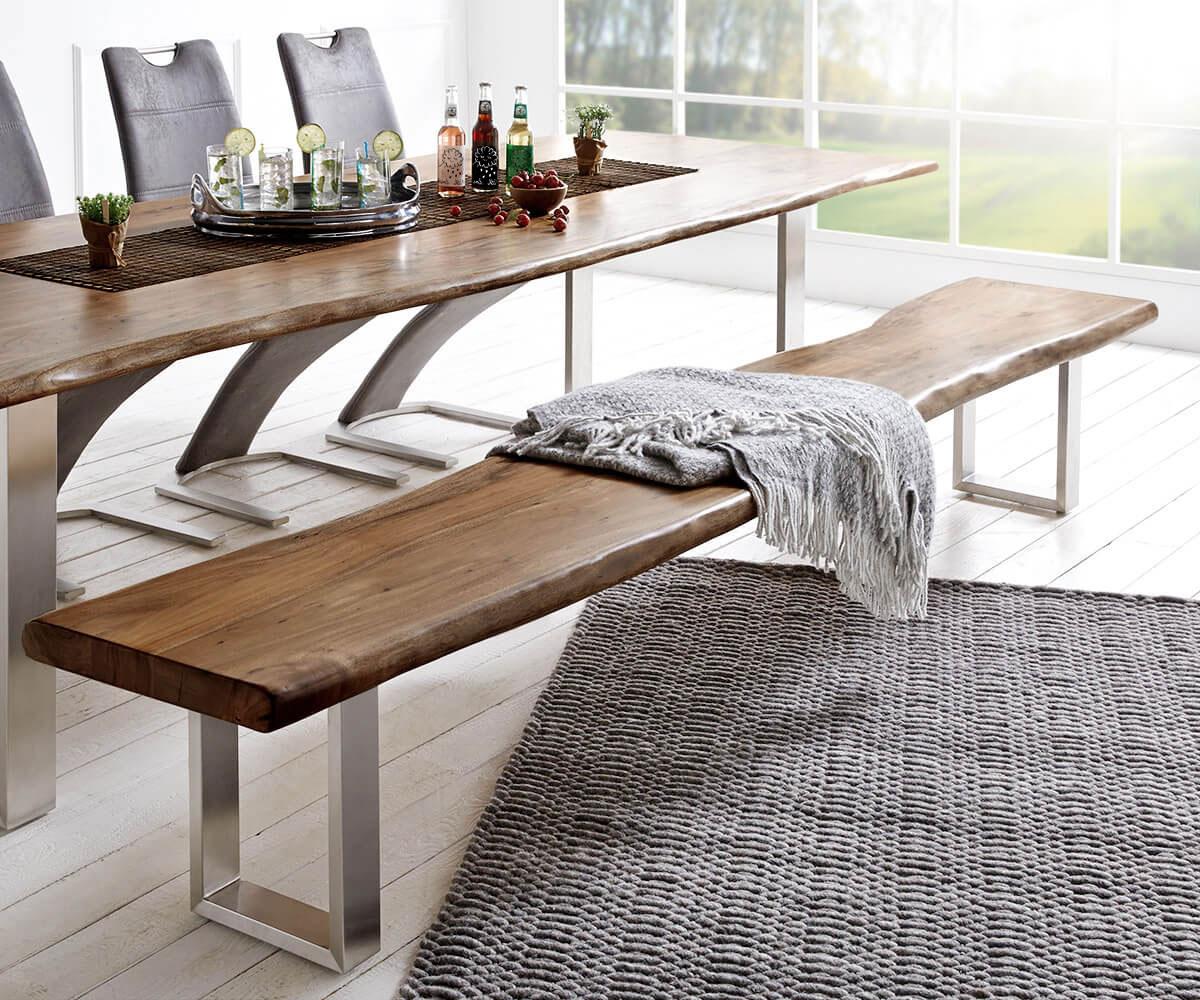 massivholzbank live edge akazie braun 255x40 gestell schmal massiv baumkante bank. Black Bedroom Furniture Sets. Home Design Ideas
