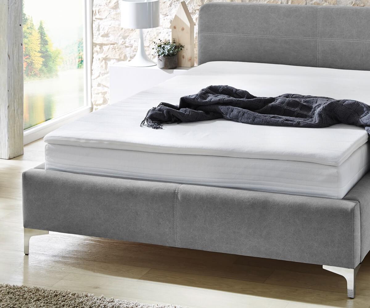 bett magdalina grau 140x200 cm vintage inklusive topper boxspringbett by delife ebay. Black Bedroom Furniture Sets. Home Design Ideas