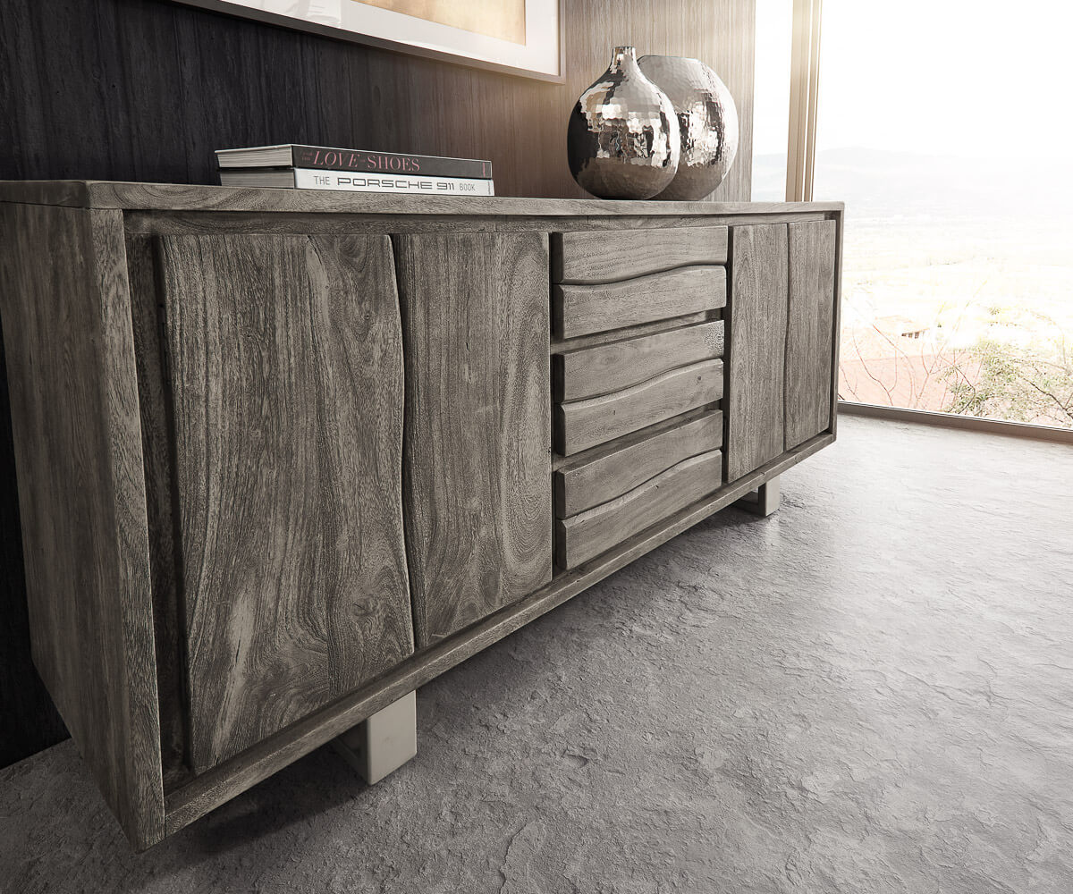 sideboard live edge 172 cm akazie platin 3 sch be 4 t ren. Black Bedroom Furniture Sets. Home Design Ideas