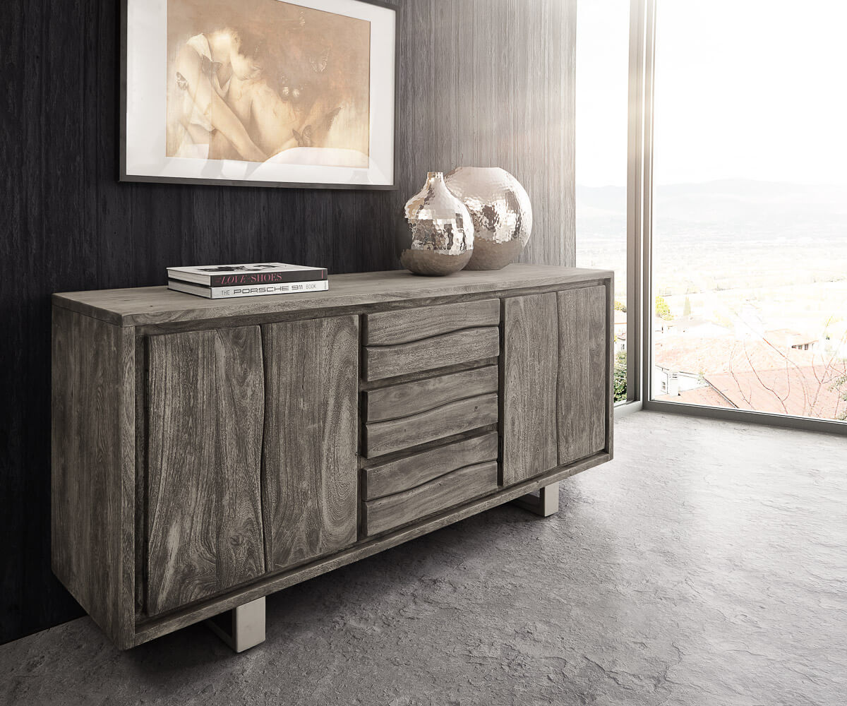 sideboard live edge 172 cm akazie platin 3 sch be 4 t ren m bel kommoden schr nke sideboards. Black Bedroom Furniture Sets. Home Design Ideas