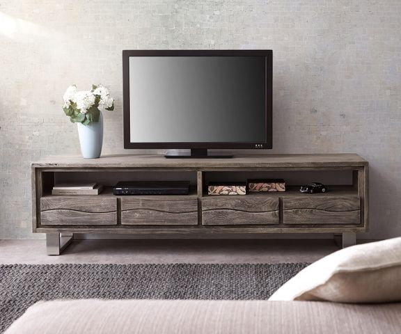 TV-meubel Live-Edge 190 cm acacia platinum 2 compartimenten 4 laden 2