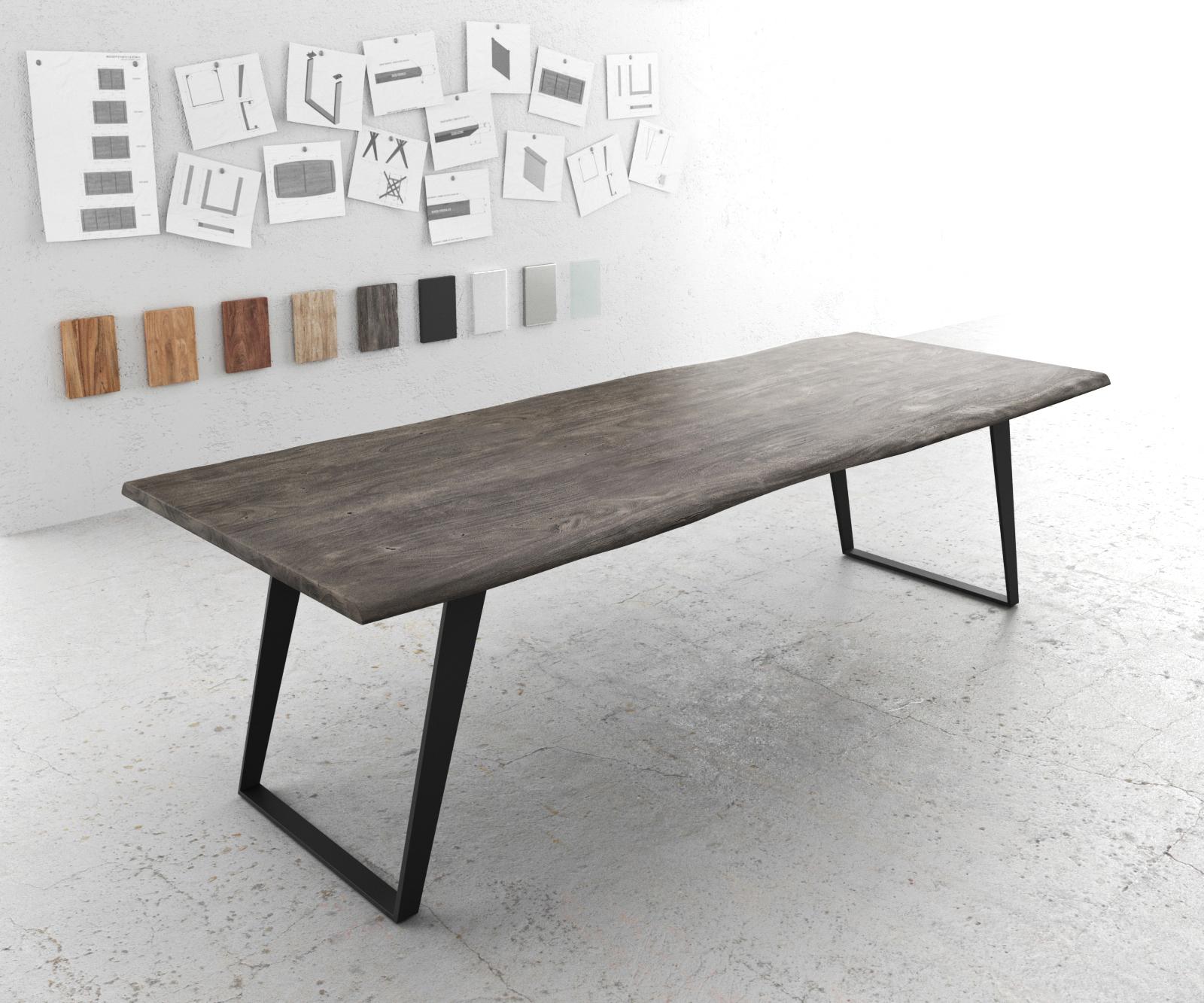 Baumtisch Live-Edge 260x100 Akazie Platin Platte 3,5cm Gestell schräg schwarz