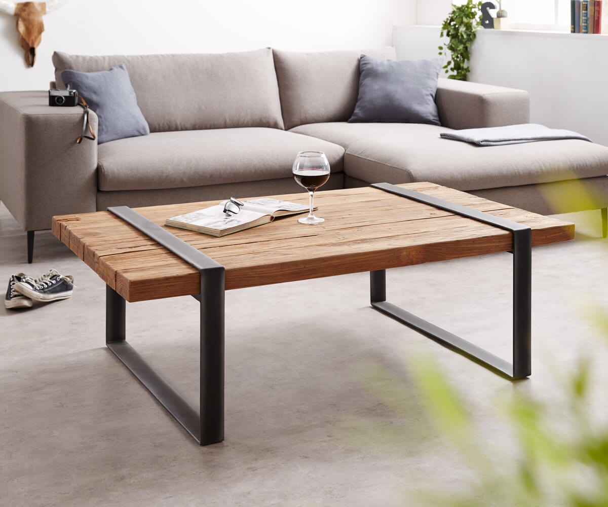 Couchtisch sunnyvale 140x80 cm teakholz natur industrial for Sofa 140 x 80